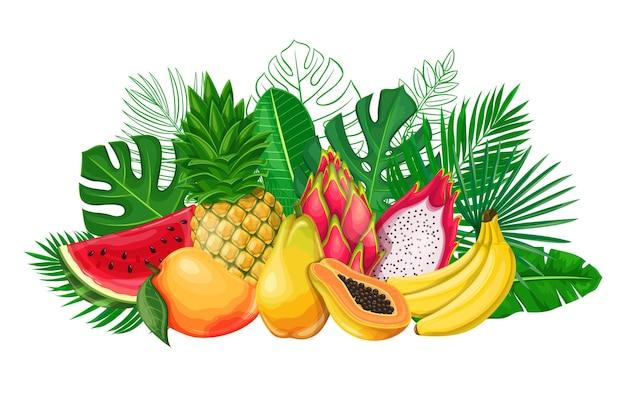 エキゾチックなフルーツのバナーと熱帯の葉。アレカヤシ、モンステラの葉、ピタヤ、パパイヤ、パイナップル、バナナ、マンゴー、スイカの輪郭が描かれたジャングルのエキゾチックな葉のポスター。