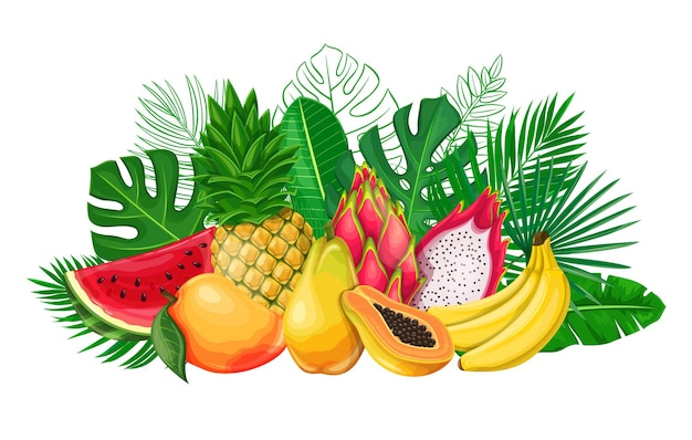 Tropical leaves with exotic fruit banner. jungle exotic leaf poster with outline areca palm, monstera leaves, pitaya, papaya, pineapple, banana, mango and watermelon.