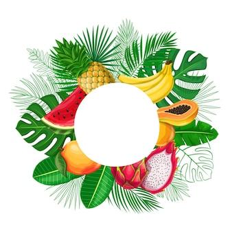 エキゾチックなフルーツフレームのコピースペースを持つ熱帯の葉。アレカヤシ、モンステラの葉、ピタヤ、パパイヤ、パイナップル、バナナ、マンゴー、スイカの輪郭が描かれたジャングルエキゾチックなリーフカットラウンドセールポスター。