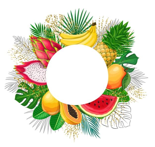 エキゾチックなフルーツフレームのコピースペースを持つ熱帯の葉。アレカヤシ、モンステラの葉、ピタヤ、パパイヤ、パイナップル、バナナ、黄金の要素の輪郭が描かれたジャングルエキゾチックなリーフカットラウンドセールポスター。