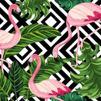 フランドルと数字の背景を持つ熱帯の葉