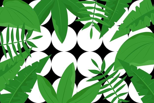 幾何学的な背景を持つ熱帯の葉