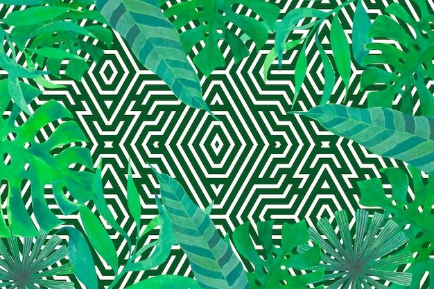 Тропические листья с геометрическим фоном