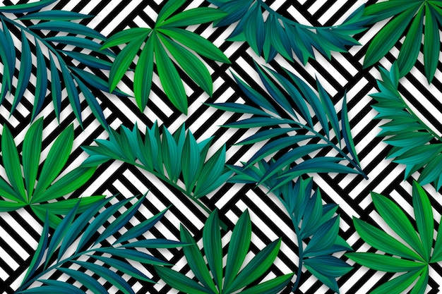 Tropical leaves with geometric wallpaper