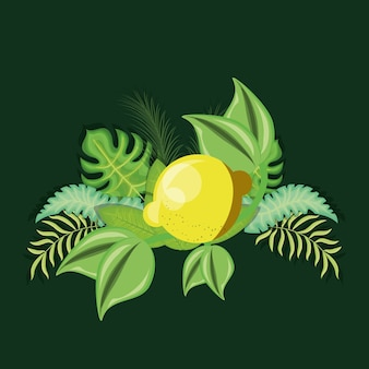 Tropical leaves with lemon