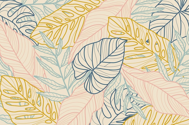 Tropical leaves with pastel background