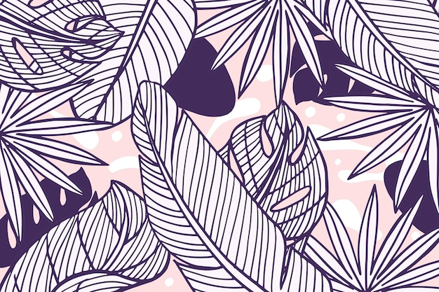 Tropical leaves with pastel color background