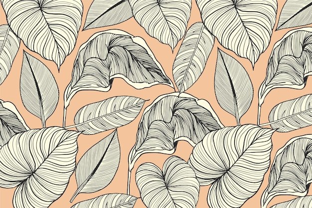 Tropical leaves with pastel color linear background