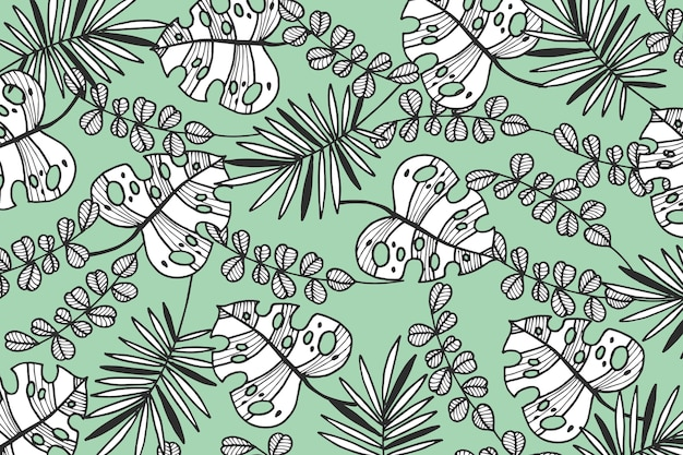Tropical leaves with pastel color wallpaper