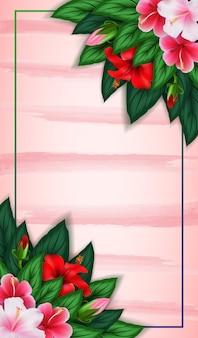長方形の花のフレームと熱帯の葉