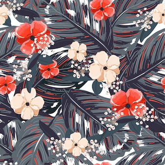 Tropical leaves, with red flower background. floral seamless pattern in vector. greenary tropical illustration.paradise nature design