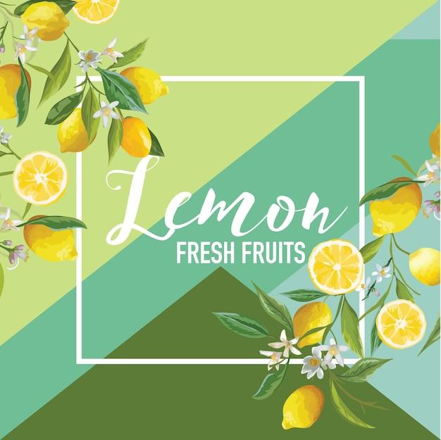 トロピカルレモンの果物と花の夏のバナー、グラフィックの背景、エキゾチックな花の招待状、チラシまたはカード。モダンフロントページ