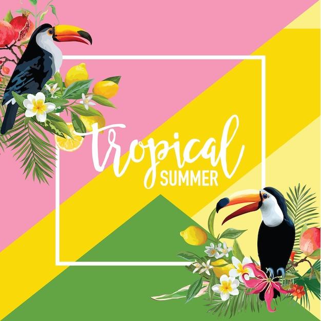 トロピカルレモン、オレンジ、ザクロの果実、花とトゥーカン鳥の夏のバナー、グラフィックの背景、エキゾチックな花の招待状、チラシまたはカード。モダンフロントページ