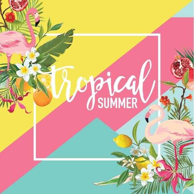 Tropical lemon, pomegranate fruits, flowers and flamingo birds summer banner, graphic background, exotic floral invitation, flyer or card. modern front page