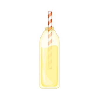 Tropical lemonade in a cute cartoon style. beach party. vector illustration isolated on white background.
