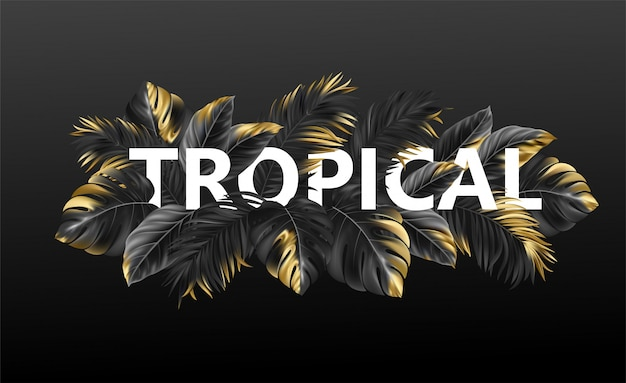 Tropical lettering on a  background from  tropical leaves of plants.