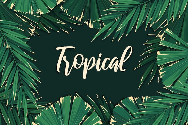 Tropical lettering leaves background