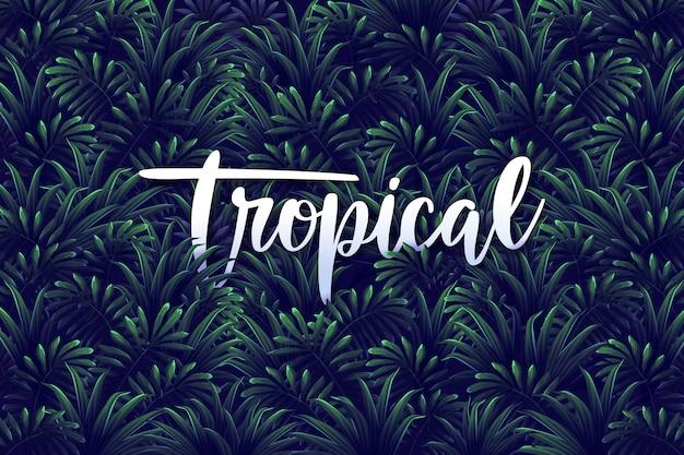 Lettering tropicale su sfondo di foglie