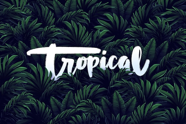 Тропические надписи на листьях обои