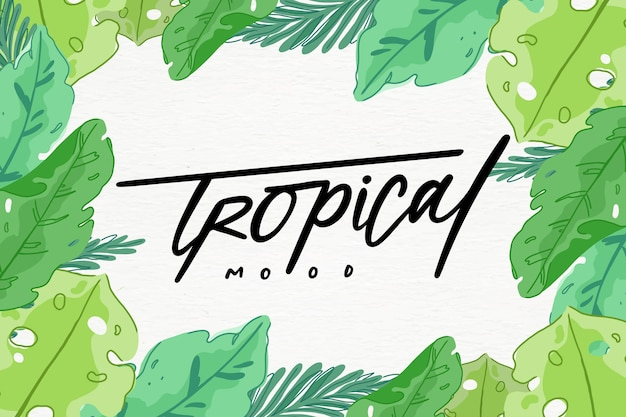 Tropical lettering surrounded by leaves