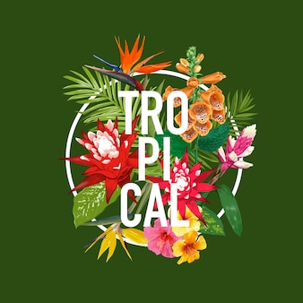Tropical lettering with flowers and palm leaves design