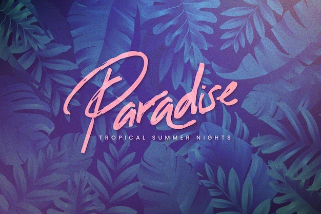 Tropical lettering with leaves background