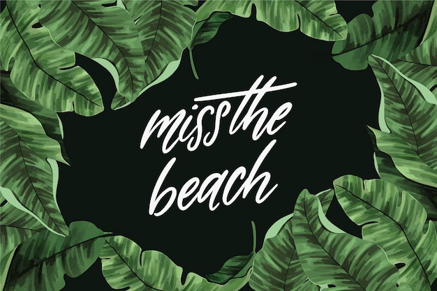 Tropical lettering with leaves and beach
