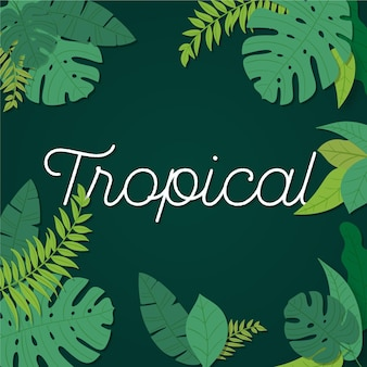 Tropical lettering with leaves and flowers concept