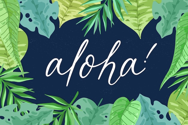 Tropical lettering with leaves or flowers