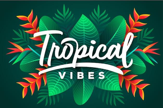 Lettering tropicale con foglie o fiori