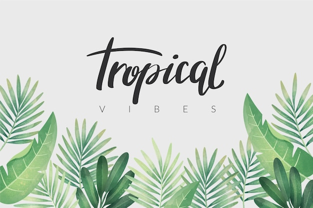 Tropical lettering with leaves