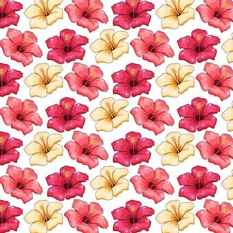 흰색 바탕에 열 대 밝은 노란색과 분홍색 꽃 그림 디자인 완벽 한 패턴