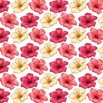 Tropical light yellow and pink flowers illustration design seamless pattern on white background