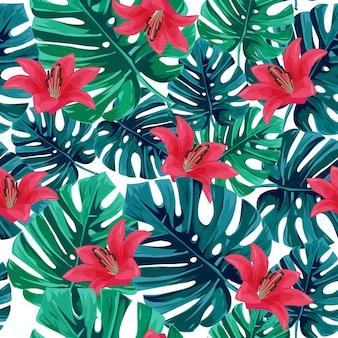 Фон тропическая лилия. Premium векторы