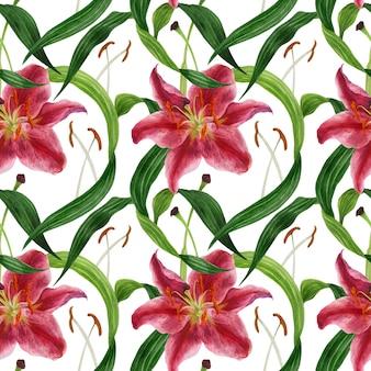 Тропическая лилия акварель бесшовный фон