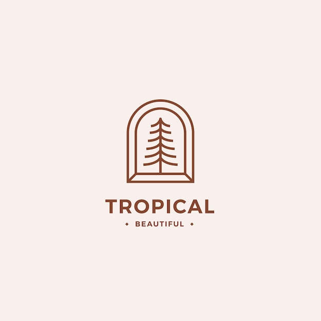 Tropical logo concept with outline tree and abstract minimal frame