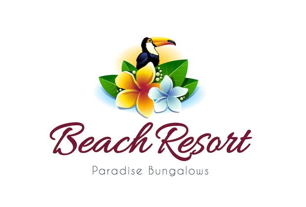 Tropical logo with toucan and flowers