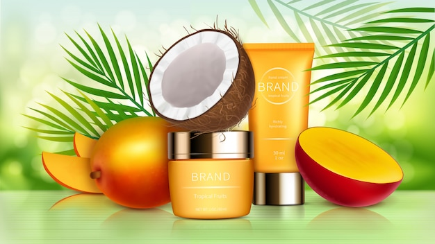 Tropical mango and coconut cosmetics