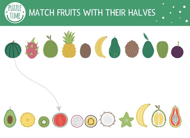 과일과 반쪽을 가진 아이들을위한 열대 매칭 활동. 유치원 정글 퍼즐. 귀여운 이국적인 교육 수수께끼. 올바른 개체 인쇄 가능한 워크 시트를 찾습니다.