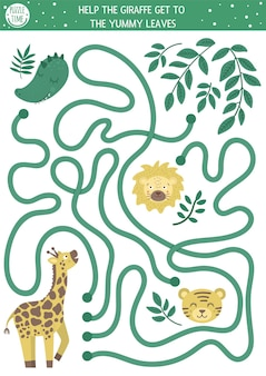 Tropical maze for children. preschool exotic activity. funny jungle puzzle. help the giraffe get to the leaves.