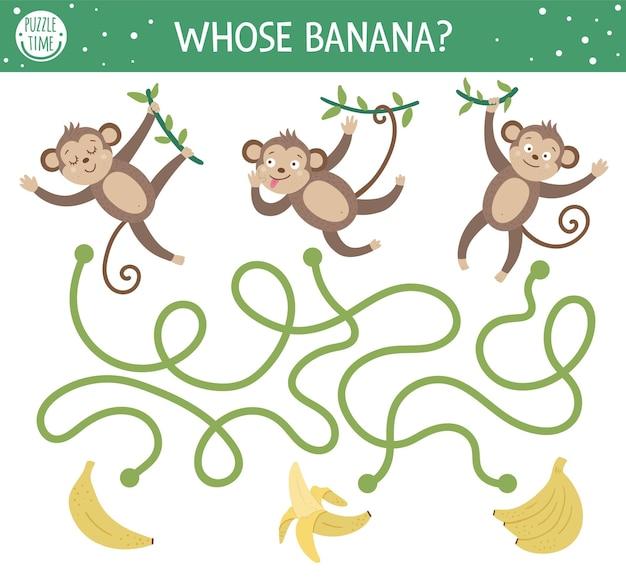 어린이를위한 열대 미로. 유치원 이국적인 활동. 귀여운 원숭이와 과일과 함께 재미있는 정글 퍼즐. 누구의 바나나.