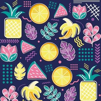 熱帯メンフィスの果実の葉の背景 Premiumベクター
