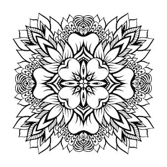 Tropical monochrome mandala with a lotus flower in the center.