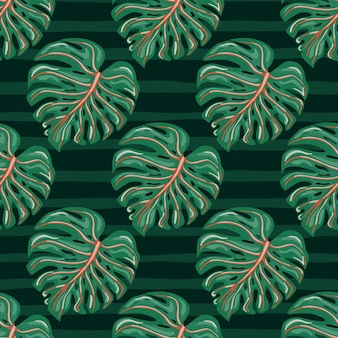 Тропические листья монстеры бесшовные модели с полосой фона.