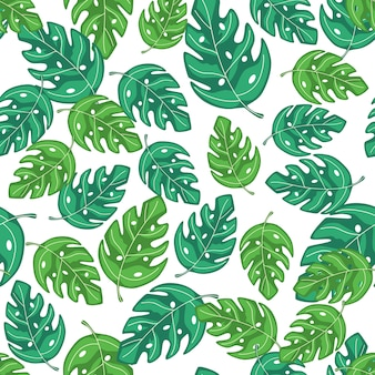 Tropical monstera leaves seamless repeat pattern. exotic plant. summer design for fabric, textile print, wrapping paper, children textile. vector illustration