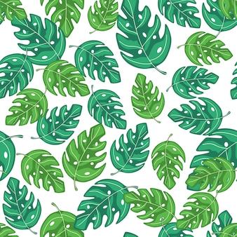 熱帯モンステラはシームレスな繰り返しパターンを残します。エキゾチックな植物布、テキスタイルプリント、包装紙、子供用テキスタイルの夏デザイン。ベクトルイラスト