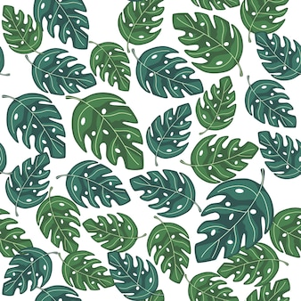 Tropical monstera leaves seamless repeat pattern