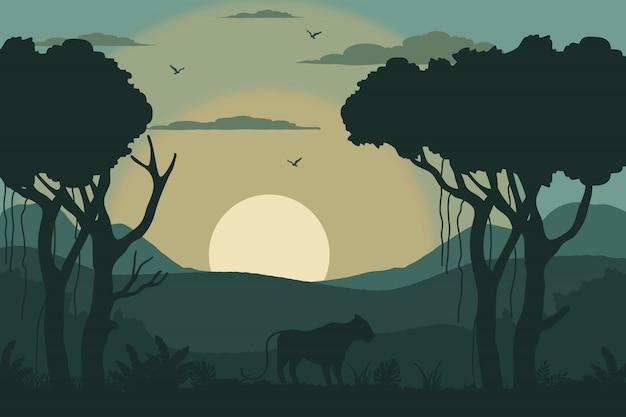 熱帯の朝の風景イラスト