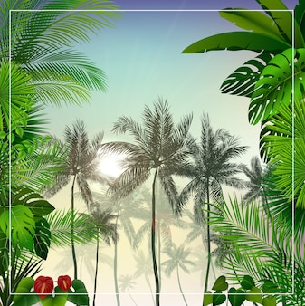 Tropical morning landscape with palm trees and leaves