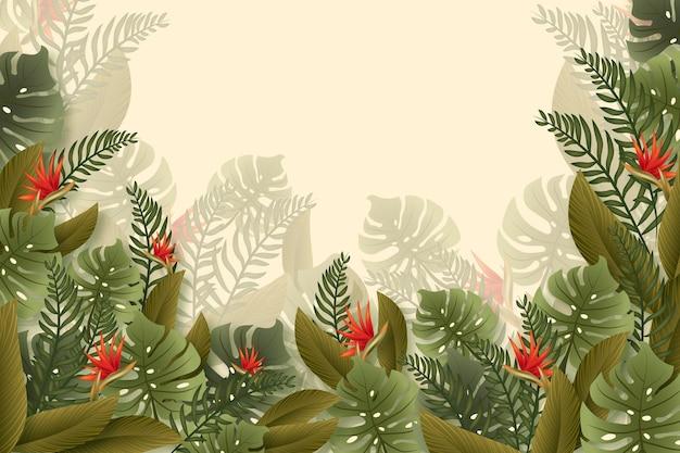 Тропический фон настенной росписи